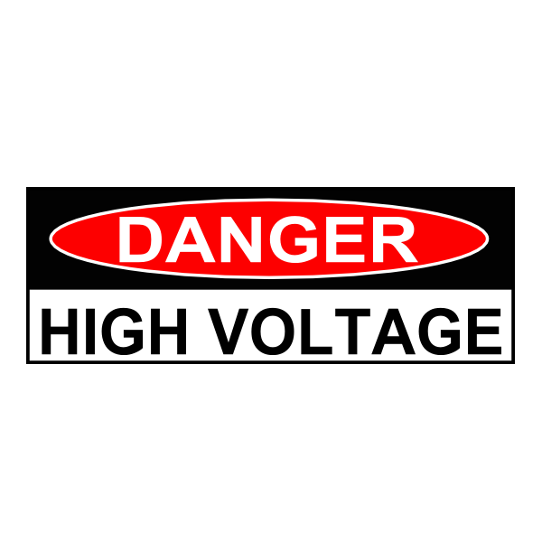 """Danger High Voltage"" Warning Sticker (original style)"