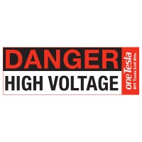 Danger High Voltage Warning sticker for use with your oneTesla musical Tesla coil kit