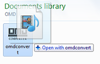 Drag files onto the OMD Converter icon