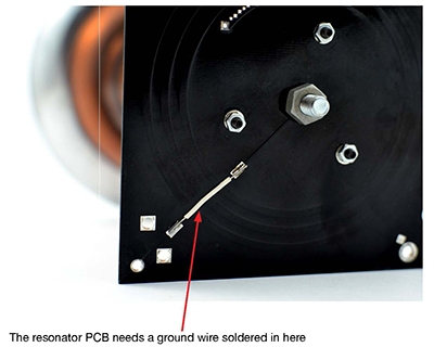 Solder the ground wire to the resonator
