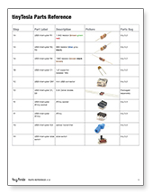tinyTesla Parts Bag Reference