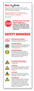 tinyTesla Warnings Sheet