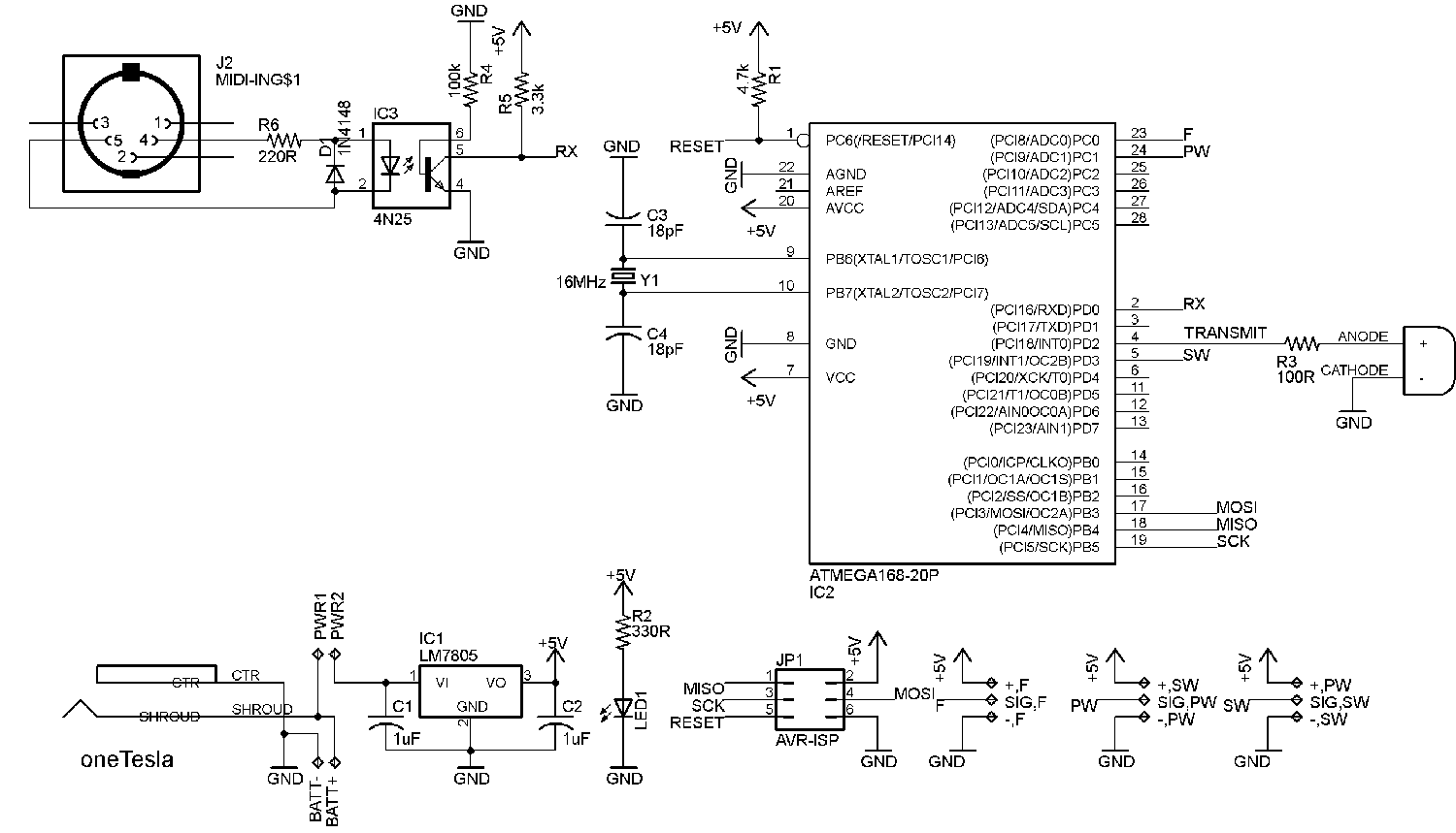 oneTesla Interrupter Schematic