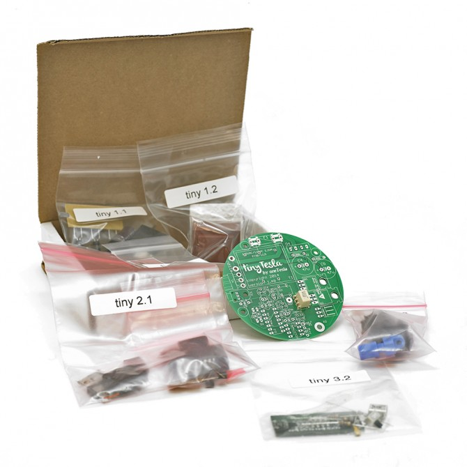 Full replacement parts set for the tinyTesla musical Tesla coil kit