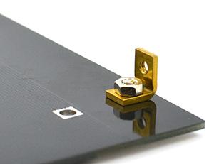 Mount the brass angle brackets