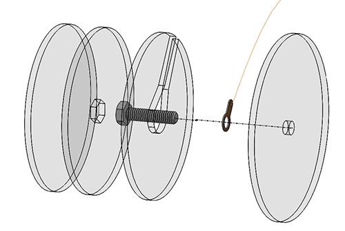 End cap assembly diagram for tinyTesla