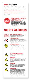 tinyTesla Warnings Sheet