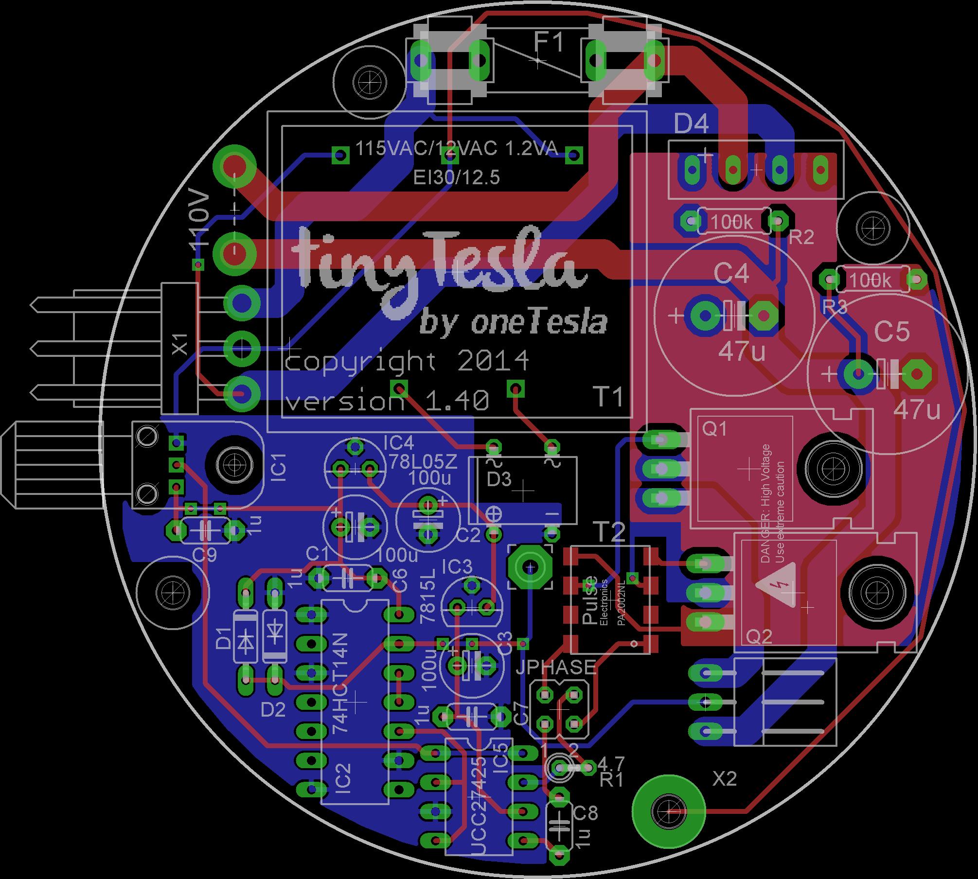 tinyTesla PCB schematic